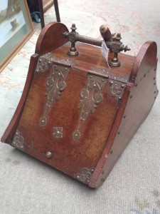 Coal scuttle carved front view