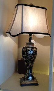 black silver etched Lamp