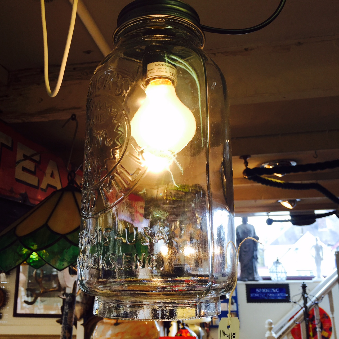 the dog house antiques jar light hanging pendant