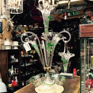 Epergne green glass