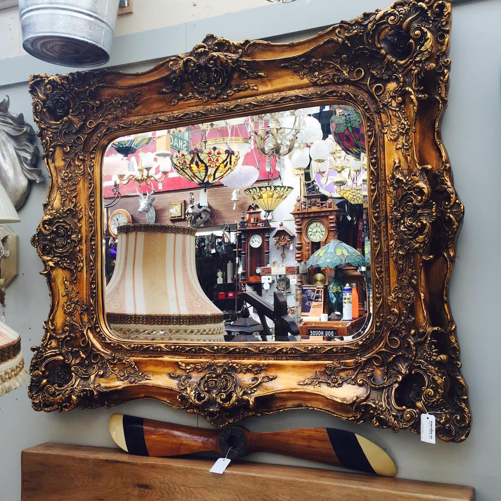The Dog House Antiques - Gold Framed Ornate Mirror